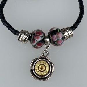 Leather Bracelet with Two Tone 380 Charm